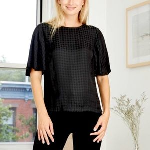 A NEW DAY black/black houndstooth check blouse XXL